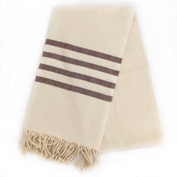 Sandvig hammam badehåndklæde med aubergive striber